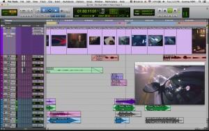 fig. 1 - Edição de vídeo no Pro Tools