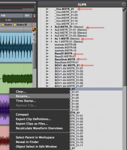 fig. 4 - Clip List e arquivos de áudio em negrito